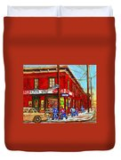 Piche's Grocery Store Bridge Street And Forfar Goosevillage Montreal Memories By Carole Spandau Duvet Cover