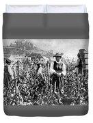 Picking Grapes In Switzerland Duvet Cover
