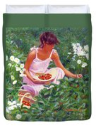 Picking Strawberries Duvet Cover