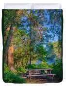 Picnic By The Methow River Duvet Cover