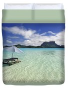 Picnic Table And Umbrella In Clear Lagoon Duvet Cover
