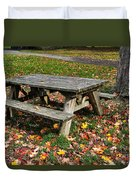 Picnic Table In Autumn Duvet Cover