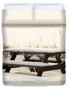 Picnic Table In Winter Duvet Cover