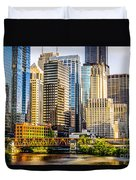 Picture Of Chicago Buildings At Lake Street Bridge Duvet Cover