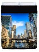 Picture Of Chicago River Skyline At Clark Street Bridge Duvet Cover