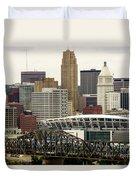 Picture Of Cincinnati Skyline Office Buildings  Duvet Cover by Paul Velgos