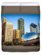 Picture Of Cloud Gate Bean And Chicago Skyline Duvet Cover by Paul Velgos