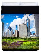 Picture Of Lurie Garden Flowers With Chicago Skyline Duvet Cover