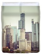 Picture Of Vintage Chicago With Sears Willis Tower Duvet Cover
