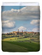 Pienza In The Afternoon Panorama Duvet Cover