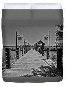 Pier At Fort Wilderness In Black And White Walt Disney World Duvet Cover