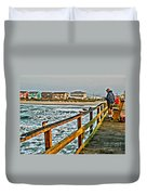 Pier Fishing 2 Duvet Cover