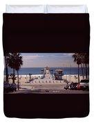 Pier Over An Ocean, Manhattan Beach Duvet Cover