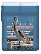 Pier Brown Pelican Duvet Cover