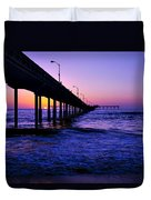 Pier Sunset Ocean Beach Duvet Cover