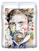 Pierre-auguste Renoir Watercolor Portrait Duvet Cover