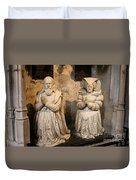 Pierre Jeannin And His Wife Sculpture Cathedral Autun Duvet Cover
