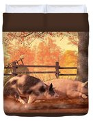 Pig Race Duvet Cover