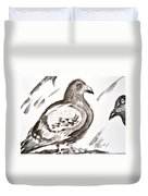 Pigeon II Sumi-e Style Duvet Cover