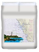 Pigeon Point Lighthouse On Noaa Nautical Chart Duvet Cover