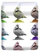 Pigeon Pop Art 5516 - Fs - Wb - M-  Modern Animal Artist James A Duvet Cover