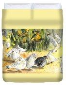 Pigeons In Benidorm Duvet Cover