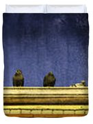 Pigeons On Yellow Roof Duvet Cover
