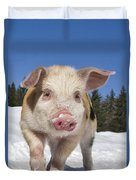 Piglet Walking In The Snow Duvet Cover