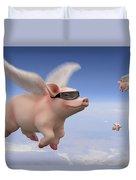 Pigs Fly Duvet Cover by Mike McGlothlen