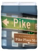Pike Place Market Sign Duvet Cover