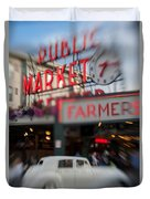 Pike Place Publice Market Neon Sign And Limo Duvet Cover