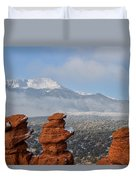 Pikes Peak In The Clouds Duvet Cover