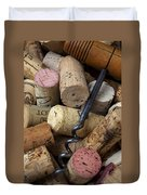 Pile Of Wine Corks With Corkscrew Duvet Cover
