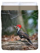 Pileated Woodpecker On Log Duvet Cover