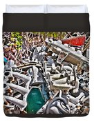 Piles Of Engines - Automotive Recycling Duvet Cover by Crystal Harman