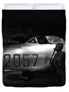 Pilot And His Airplane In The Hangar Duvet Cover