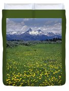 1a9210-pilot Peak And Wildflowers Duvet Cover