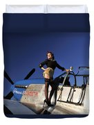 Pin-up Girl Standing On The Wing Duvet Cover by Christian Kieffer