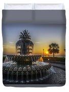 Pinapple Fountain Charleston Sc Sunrise Duvet Cover