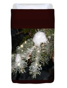 Pine Branch With Ice And Stars Duvet Cover