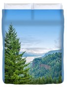 Pine Tree And Columbia River Gorge Duvet Cover