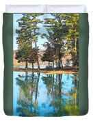 Pine Tree Water Reflections Duvet Cover