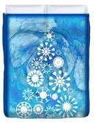 Pine Tree Snowflakes - Baby Blue Duvet Cover