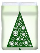 Pine Tree Snowflakes - Green Duvet Cover