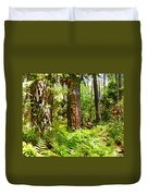 Pine Trees And Ferns Duvet Cover