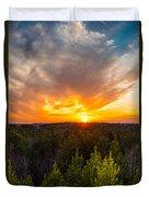 Pine Trees At Sunset Duvet Cover