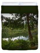 Pine Trees Over Starvation Lake Duvet Cover