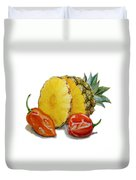 Pineapple And Habanero Peppers  Duvet Cover
