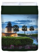 Pineapple Fountain Charleston South Carolina Sc Duvet Cover