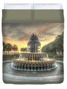 Pineapple Fountain Sunset Duvet Cover